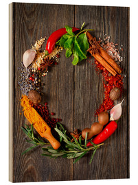 Obraz na drewnie  Wreath of spices and herbs