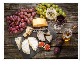 Plakat Wine and Cheese still life