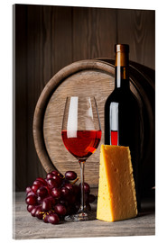 Obraz na szkle akrylowym  Red Wine with Cheese and Grapes