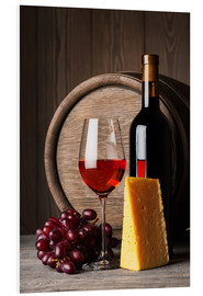 Obraz na PCV  Red Wine with Cheese and Grapes