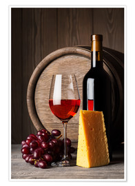 Plakat  Red Wine with Cheese and Grapes