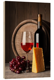 Obraz na drewnie  Red Wine with Cheese and Grapes