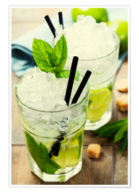 Plakat  Mojito cocktail with ingredients