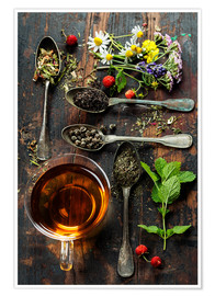 Plakat Tea with honey, wild berries and flowers