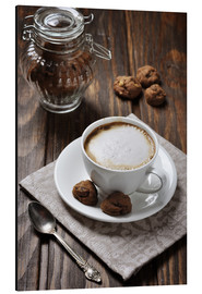 Obraz na aluminium  Cup of coffee with cookies