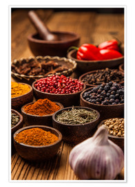 Plakat Colorful spices in bowls