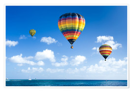 Plakat  Colorful hot air balloons on the blue sea