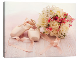 Obraz na płótnie  Ballet shoes with bouquet