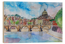 Obraz na drewnie  Vatican Rome Italy Sunset On River Tiber With St Peter II - M. Bleichner