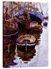 Obraz na płótnie  Boats in the port of Trieste - Egon Schiele