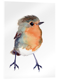 Obraz na szkle akrylowym  Baby robin in watercolour - Verbrugge Watercolor