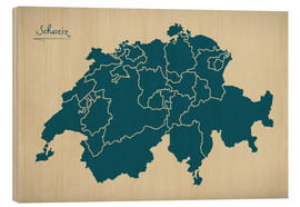 Obraz na drewnie  Switzerland Modern Map Artwork Design - Ingo Menhard