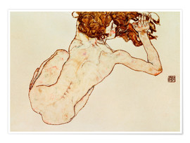 Plakat Crouching nude, back view