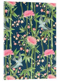 Obraz na szkle akrylowym  bamboo birds and blossoms on teal - Micklyn Le Feuvre