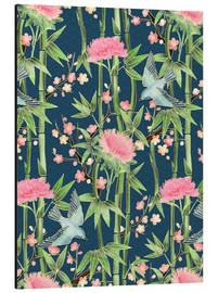 Obraz na aluminium  bamboo birds and blossoms on teal - Micklyn Le Feuvre