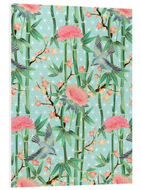 Obraz na PCV  bamboo birds and blossoms on mint - Micklyn Le Feuvre