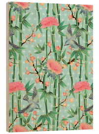 Obraz na drewnie  bamboo birds and blossoms on mint - Micklyn Le Feuvre
