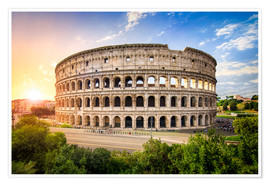 Plakat Colosseum at sunset in Rome, Italy