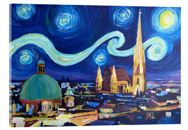 Obraz na szkle akrylowym  Starry Night in Vienna Austria   Saint Stephan Cathedral Van Gogh Inspirations - M. Bleichner
