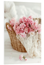 Obraz na PCV  Pink pastel flowers in wicker basket
