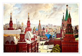 Plakat  Aerial view of the Kremlin in Red Square, Moscow