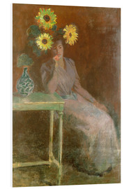 Obraz na PCV  Sedentary woman next to a vase with sunflowers - Claude Monet