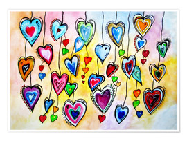 Plakat Awesome Colorful Hearts