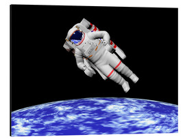 Obraz na aluminium  Astronaut floating in outer space above planet Earth - Elena Duvernay
