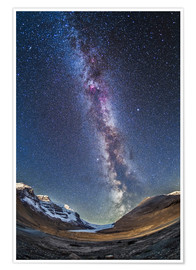 Plakat  Milky Way over the Columbia Icefields in Jasper National Park, Canada. - Alan Dyer