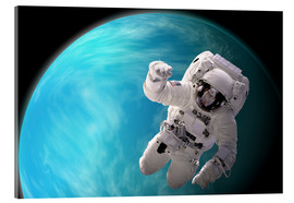 Obraz na szkle akrylowym  Artist's concept of an astronaut floating in outer space by a water covered planet. - Marc Ward