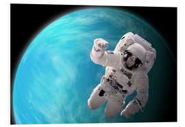 Obraz na PCV  Artist's concept of an astronaut floating in outer space by a water covered planet. - Marc Ward
