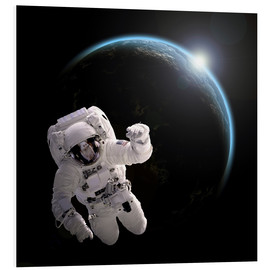 Obraz na PCV  Astronaut floating in space as the sun rises on to Earth-like planet. - Marc Ward
