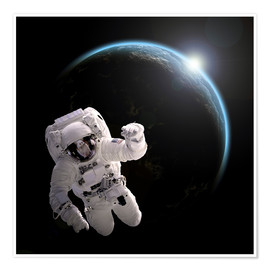 Plakat  Astronaut floating in space as the sun rises on to Earth-like planet. - Marc Ward