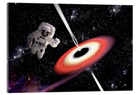 Obraz na szkle akrylowym  Artist's concept of an astronaut falling towards a black hole in outer space. - Marc Ward