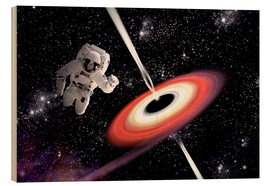 Obraz na drewnie  Artist's concept of an astronaut falling towards a black hole in outer space. - Marc Ward