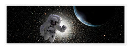Plakat  Astronaut floating in deep space with an Earth-like planet in background. - Marc Ward