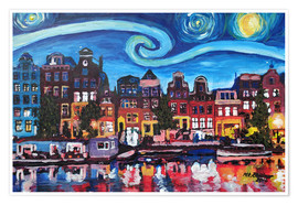 Plakat Starry Night over Amsterdam Canal, Van Gogh Inspiration