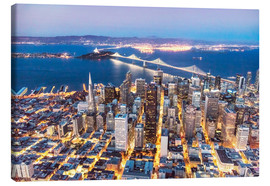 Obraz na płótnie  Aerial view of San Francisco downtown with Bay bridge at night, California, USA - Matteo Colombo