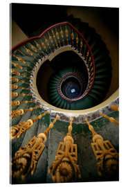 Obraz na szkle akrylowym  Ornamented spiral staircase in green and yellow - Jaroslaw Blaminsky