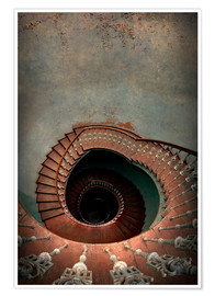 Plakat Spiral staircase in red