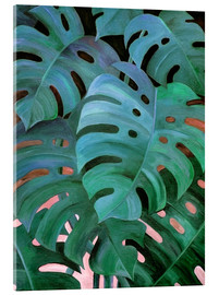 Obraz na szkle akrylowym  Monstera Love in Teal and Emerald Green - Micklyn Le Feuvre