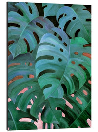 Obraz na aluminium  Monstera Love in Teal and Emerald Green - Micklyn Le Feuvre