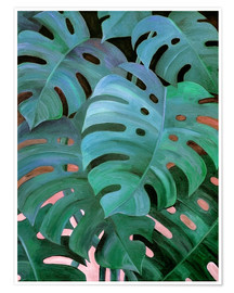 Plakat  Monstera Love in Teal and Emerald Green - Micklyn Le Feuvre