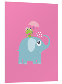 Obraz na PCV  One frog and one elephant pink - Jaysanstudio