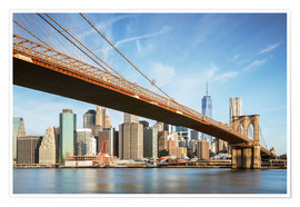 Plakat Brooklyn bridge and Manhattan skyline at sunrise, New York city, USA