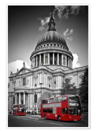 Plakat LONDON St. Paul's Cathedral and Red Bus
