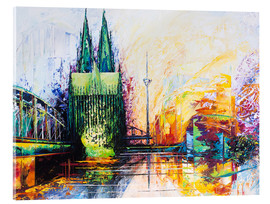 Obraz na szkle akrylowym  Cologne Cathedral Skyline colored - Renate Berghaus