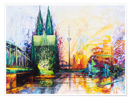 Plakat  Cologne Cathedral Skyline colored - Renate Berghaus