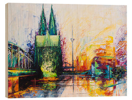 Obraz na drewnie  Cologne Cathedral Skyline colored - Renate Berghaus