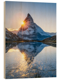 Obraz na drewnie  Riffelsee and Matterhorn in the Swiss Alps - Jan Christopher Becke